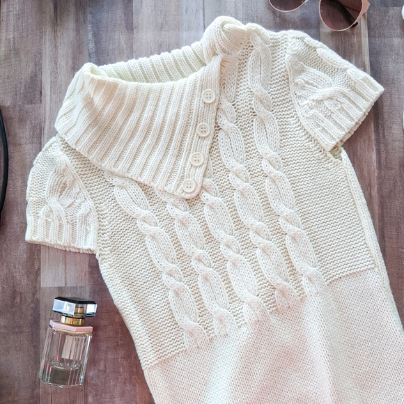 Pink Rose Off White Cable Knit Sweater Dress